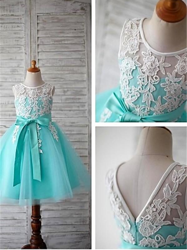 Duchesse-Stil U-Ausschnitt Bodenlang Tüll Blumenmädchenkleid mit Perlenstickereien Schleifen