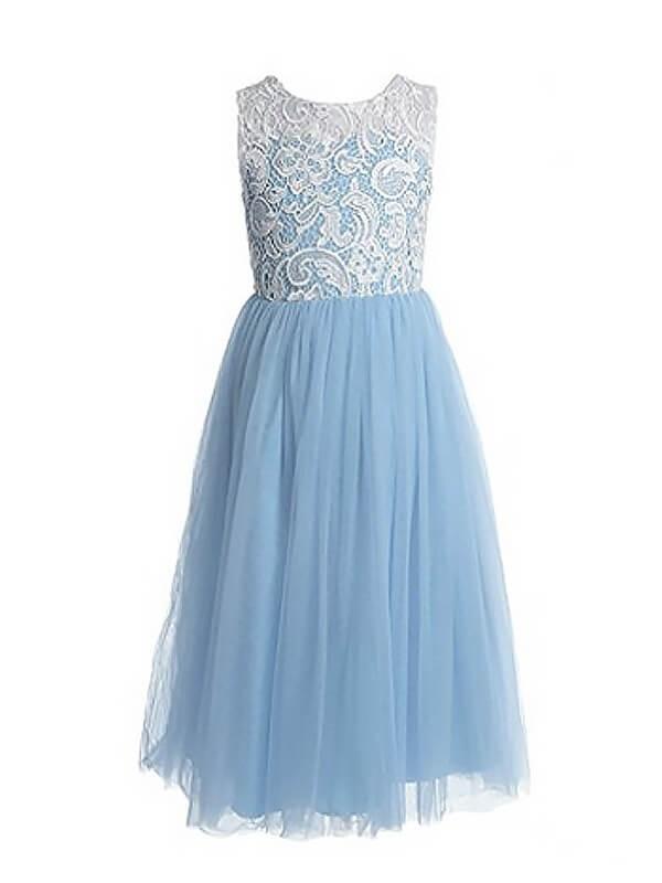 A-Linien-/Princess-Stil Ärmellos Juwel-Ausschnitt Bodenlang Tüll Blumenmädchenkleid mit Spitze