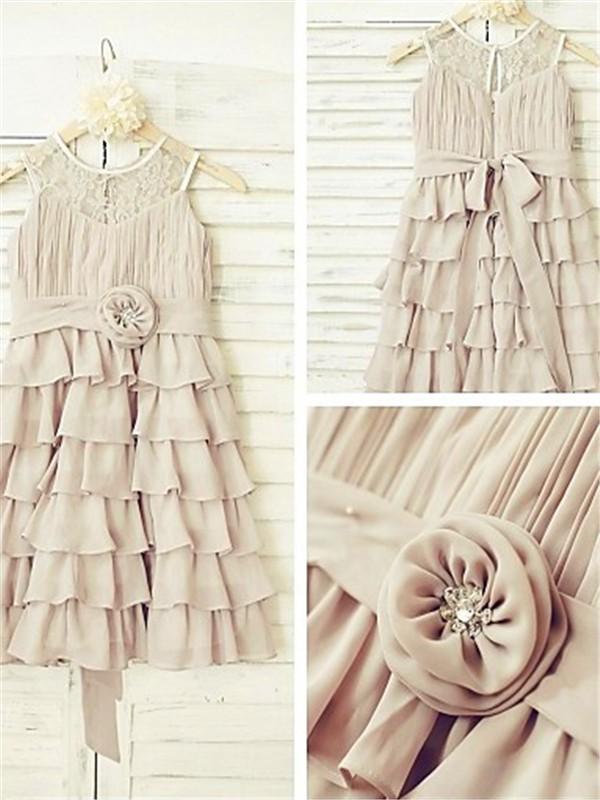 A-Linien-/Princess-Stil U-Ausschnitt Bodenlang Chiffon Blumenmädchenkleid mit Falten