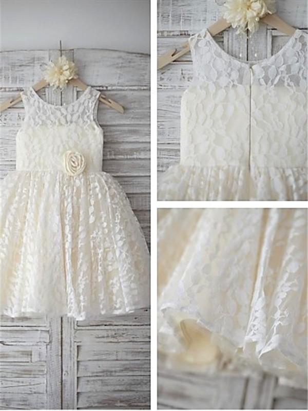 A-Linien-/Princess-Stil U-Ausschnitt Bodenlang Blumenmädchenkleid mit mit Perlenstickereien Handgemachte Blumen