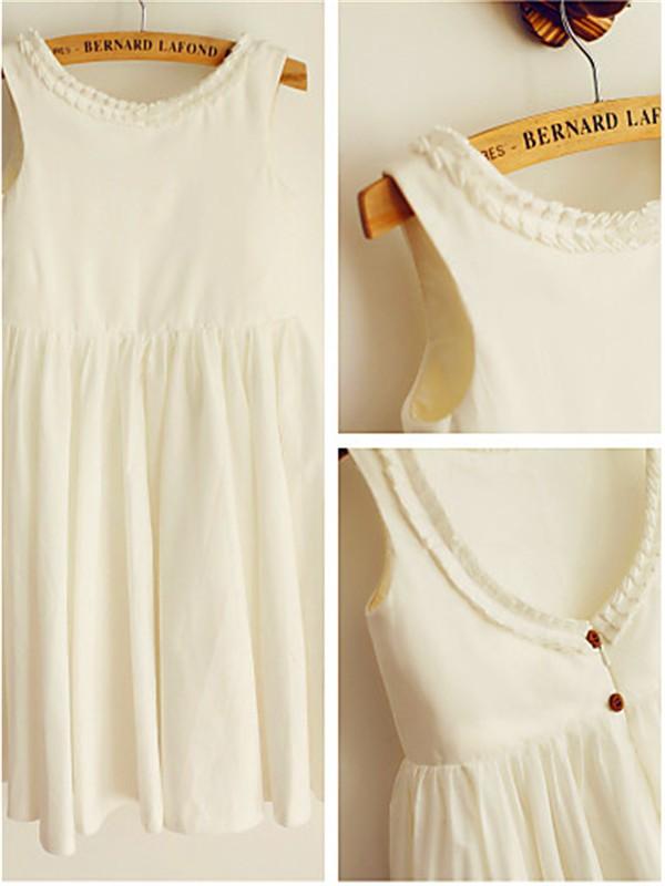 A-Linien-/Princess-Stil U-Ausschnitt Wadenlang Chiffon Blumenmädchenkleid mit Perlenstickereien Rüschen