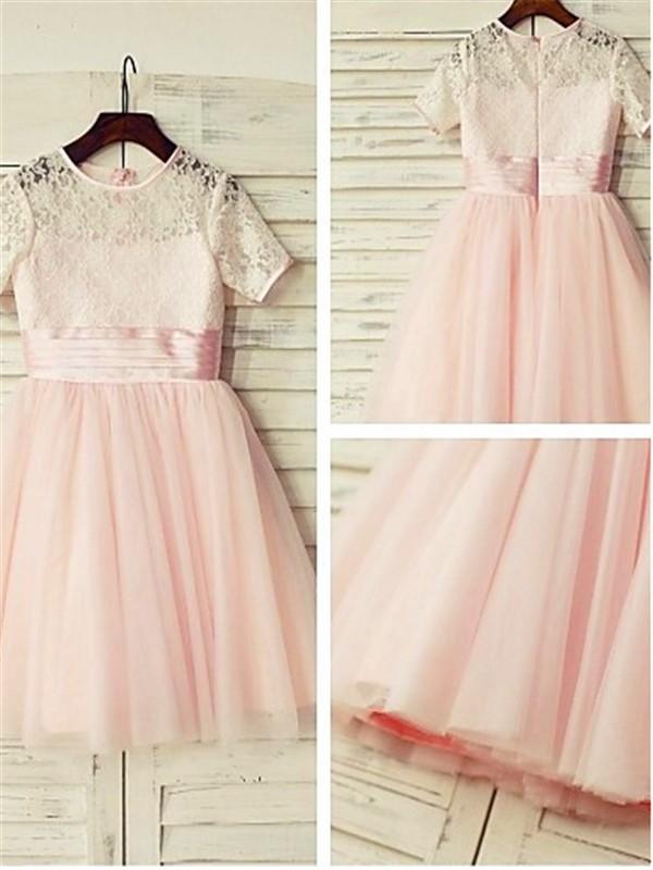 A-Linien-/Princess-Stil Juwel-Ausschnitt Kurze Ärmel Bodenlang Tüll Blumenmädchenkleid mit Falten Spitze