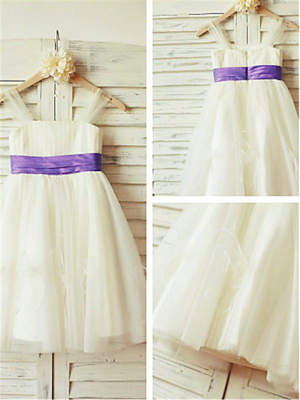 A-Linien-/Princess-Stil Träger Bodenlang Tüll Blumenmädchenkleid mit Perlenstickereien Rüschen