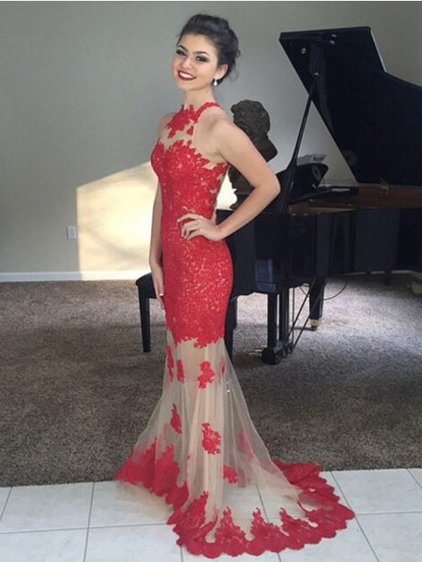 Trompeten-/Meerjungfrauenkleider Stehkragen Pinselschleppe Netz Abendkleid mit Applikationen