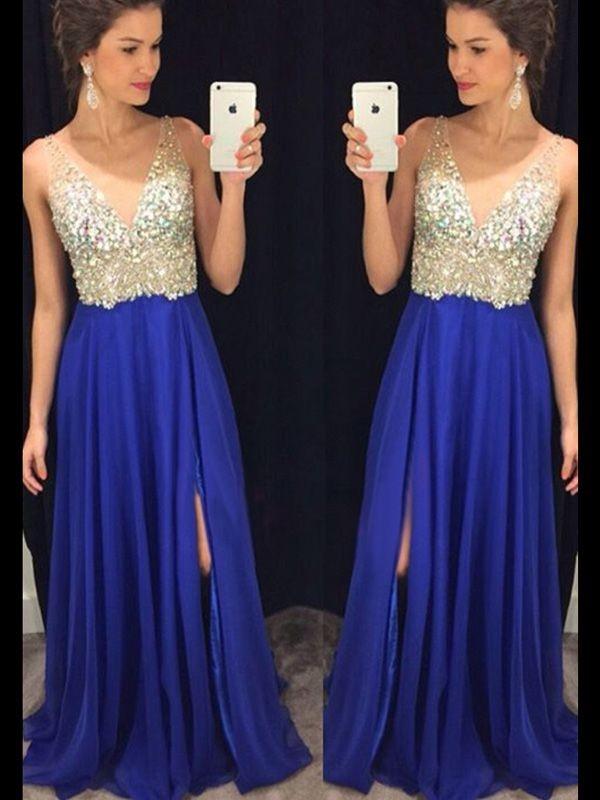 A-Linien-/Princess-Stil V-Ausschnitt Pinselschleppe Chiffon Kleid Kristalle mit Schlitz