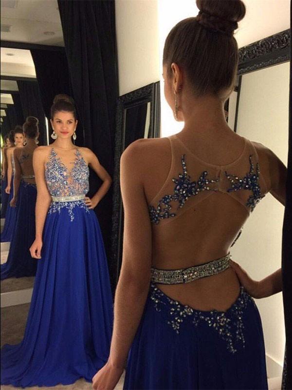 A-Linien-/Princess-Stil V-Ausschnitt Bodenlang Chiffon Abendkleid mit Applikationen