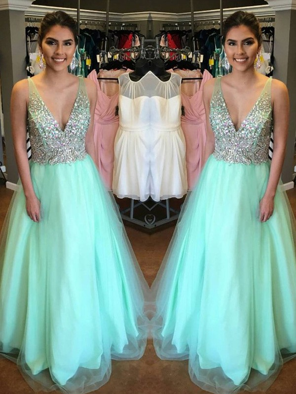 A-Linien-/Princess-Stil V-Ausschnitt Bodenlang Tüll Abendkleid mit Perlenstickereien