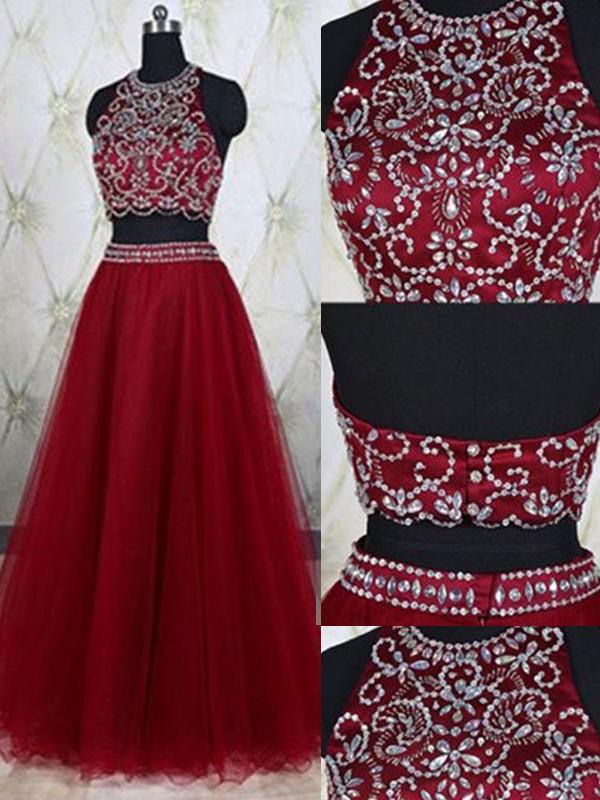 A-Linien-/Princess-Stil Juwel-Ausschnitt Bodenlang Tüll zweiteilige Kleid mit Perlenstickereien
