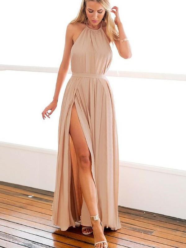A-Linien-/Princess-Stil Neckholder Bodenlang Chiffon Abendkleid Perlenstickereien mit Schlitz