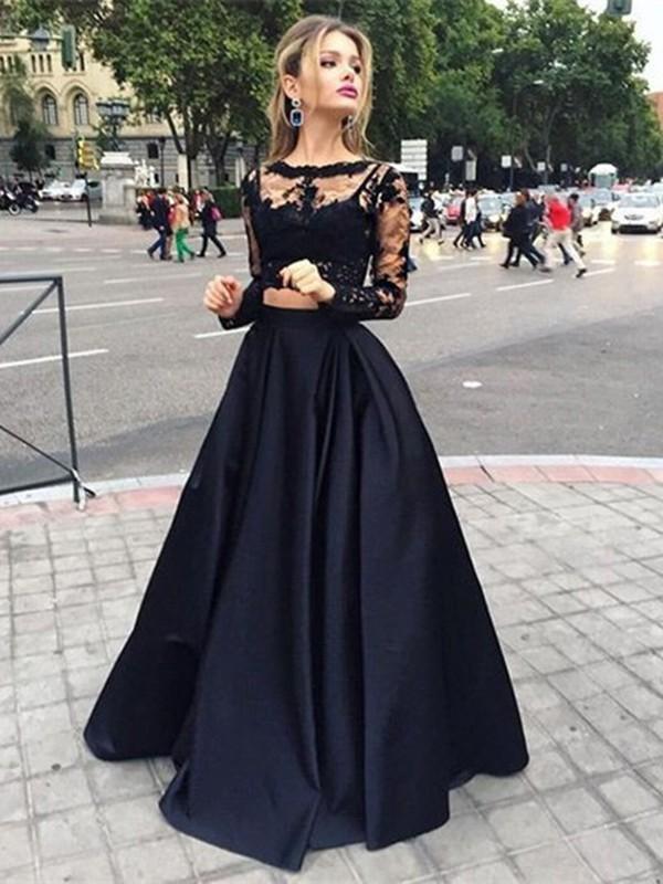 Duchesse-Stil Bateau-Ausschnitt Bodenlang Satin zweiteilige Abendkleid mit Perlenstickereien