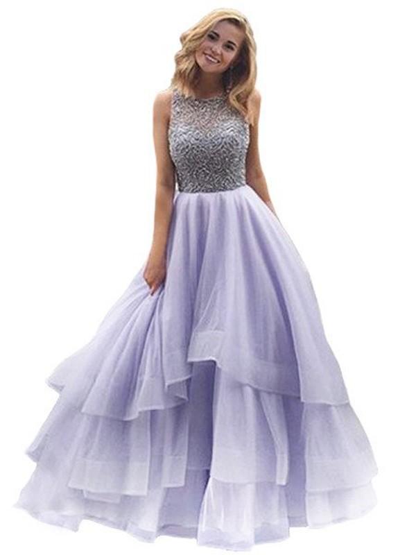 Duchesse-Stil U-Ausschnitt Bodenlang Organza Abendkleid mit Perlenstickereien