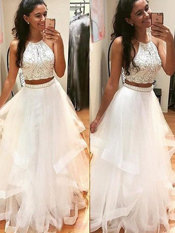 A-Linien-/Princess-Stil Neckholder Bodenlang Tüll zweiteilige Abendkleid mit Perlenstickereien