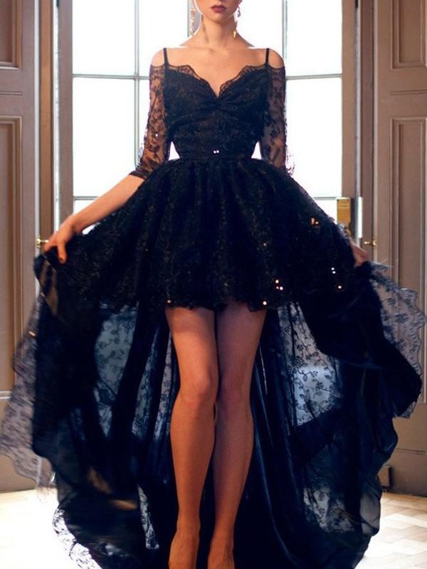 A-Linien-/Princess-Stil Spaghetti Träger Asymmetrisch Spitze Abendkleid mit Spitze