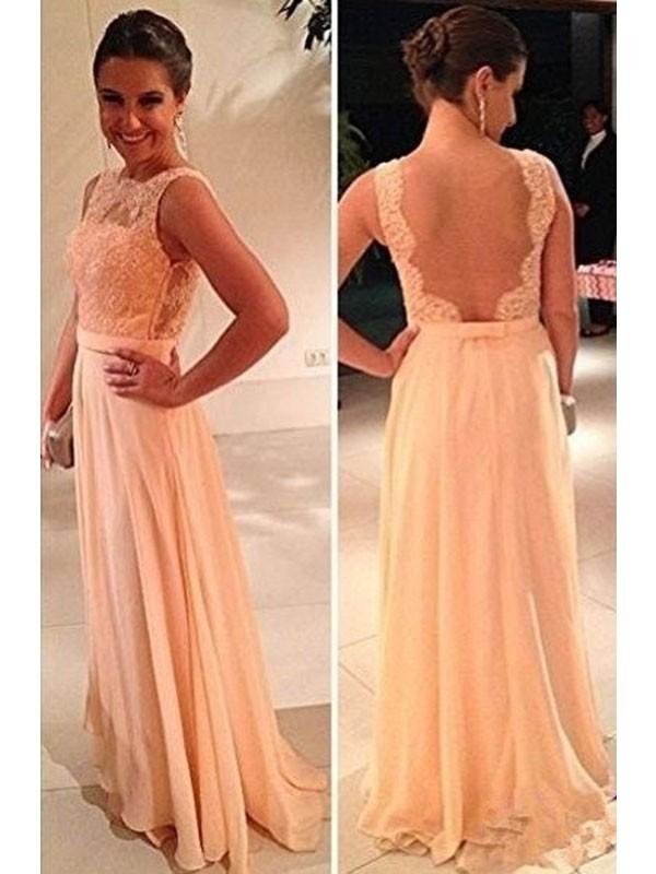 A-Linien-/Princess-Stil Bateau-Ausschnitt Bodenlang Chiffon Abendkleid mit Spitze