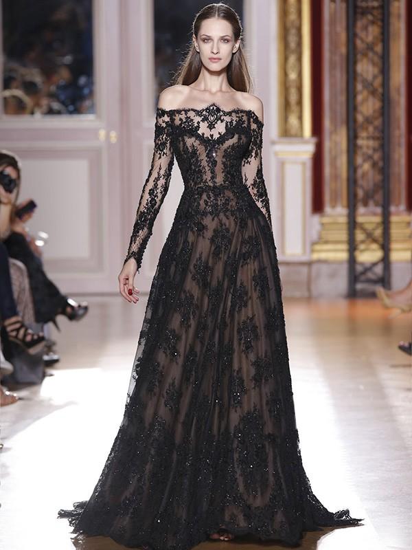 A-Linien-/Princess-Stil Schulterfrei Pinselschleppe Lange Ärmel Abendkleid mit Spitze