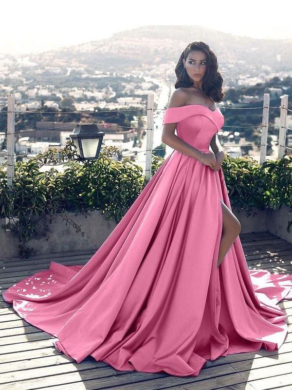A-Linien-/Princess-Stil Schulterfrei Bodenlang Satin Abendkleid mit Schlitz