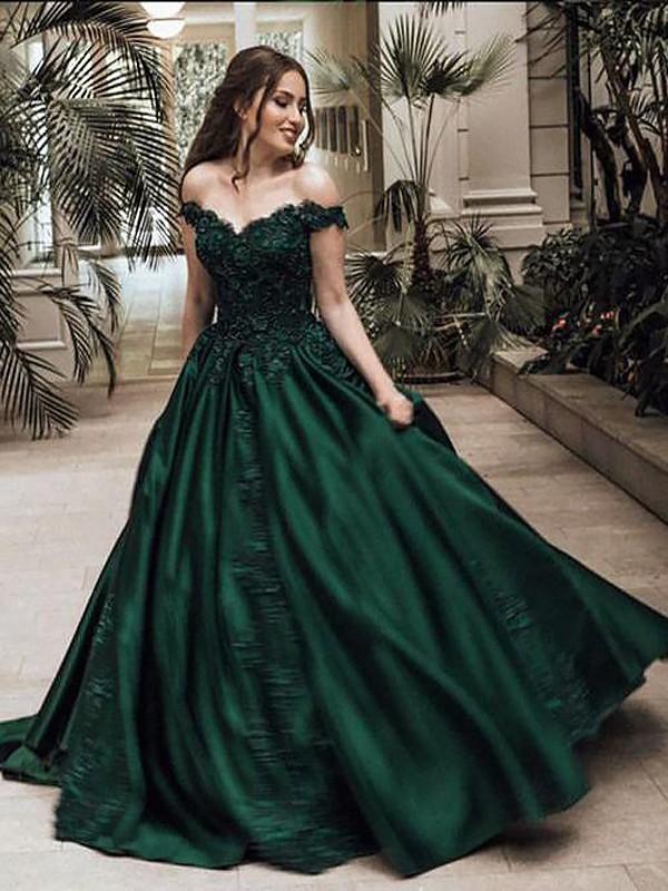 Duchesse-Stil Schulterfrei Ärmellos Bodenlang Satin Abschlussballkleid mit Spitze