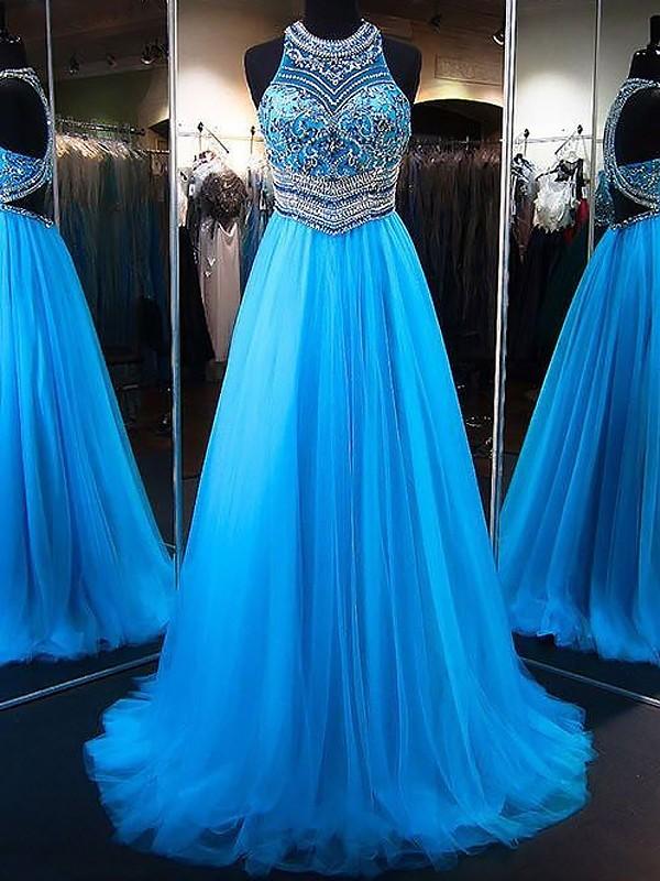 A-Linien-/Princess-Stil Juwel-Ausschnitt Ärmellos Pinselschleppe Tüll Abschlussballkleid mit Perlenstickereien