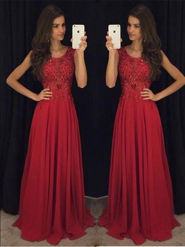 A-Linien-/Princess-Stil U-Ausschnitt Ärmellos Chiffon Pinselschleppe Abendkleid mit Perlenstickereien