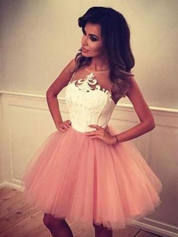 A-Linien-/Princess-Stil Bateau-Ausschnitt Tüll Ärmellos Kurze/Mini Kleid mit Applikationen