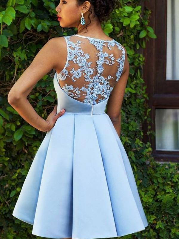 A-Linien-/Princess-Stil Bateau-Ausschnitt Satin Ärmellos Kurze/Mini Kleid mit Applikationen