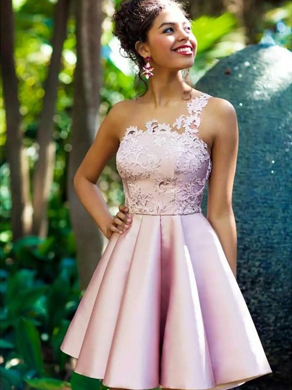 A-Linien-/Princess-Stil One-Shoulder-Träger Satin Ärmellos Kurze/Mini Kleid mit Applikationen