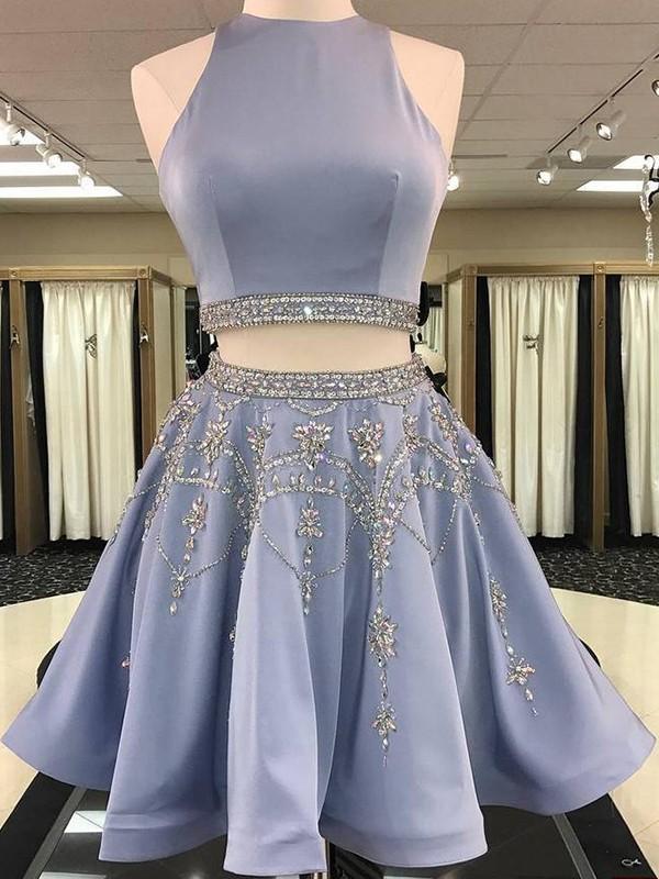 A-Linien Bateau-Ausschnitt Satin Ärmellos Kurze/Mini Zwei Stück Kleid mit Perlenstickereien
