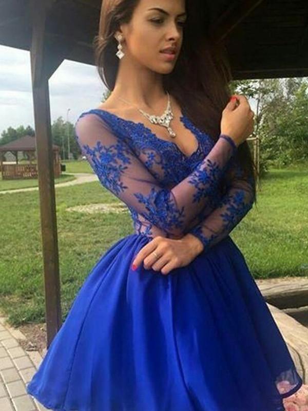 A-Linien-/Princess-Stil V-Ausschnitt Organza Lange Ärmel Kurze/Mini Kleid mit Applikationen