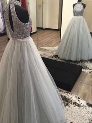 A-Linien-/Princess-Stil Neckholder Bodenlang Tüll Abendkleid mit Perlenstickereien