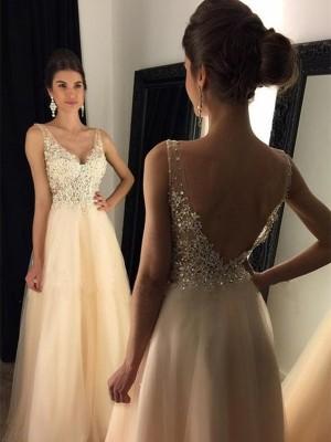 A-Linien-/Princess-Stil V-Ausschnitt Pinselschleppe Tüll Abendkleid