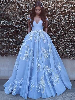 Duchesse-Stil Schulterfrei Pinselschleppe Tüll Ärmellos Abschlussballkleid mit Applikationen