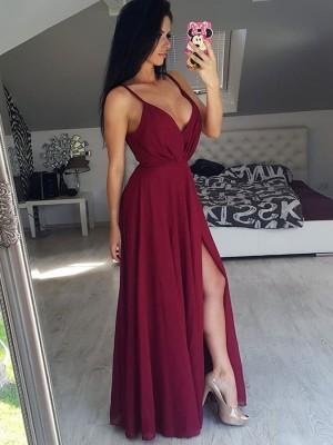 A-Linien-/Princess-Stil V-Ausschnitt Ärmellos Bodenlang Chiffon Abendkleid mit Schlitz