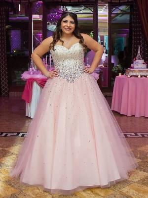 Duchesse-Stil Herzausschnitt Bodenlang Ärmellos Tüll Abendkleid in Übergröße mit Perlenstickereien