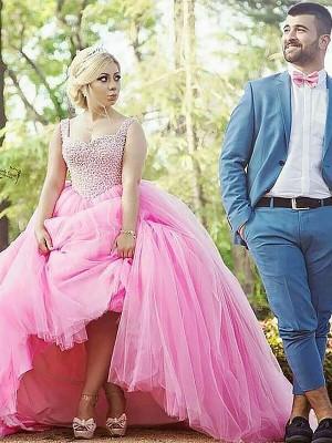 Duchesse-Stil Herzausschnitt Pinselschleppe Ärmellos Tüll Abendkleid in Übergröße mit Perlen