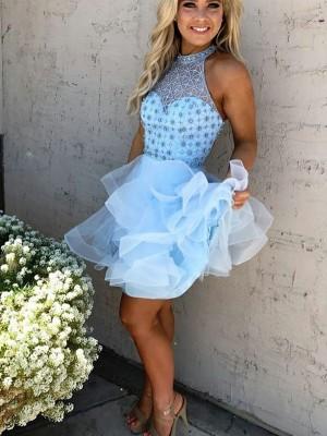 A-Linien-/Princess-Stil Stehkragen Tüll Ärmellos Kurze Kleid mit Perlenstickereien