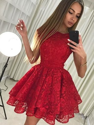 A-Linien-/Princess-Stil U-Ausschnitt Spitze Ärmellos Kurze/Mini Kleid mit Spitze