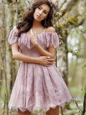 A-Linien-/Princess-Stil Schulterfrei Spitze Ärmellos Kurze/Mini Kleid mit Rüschen