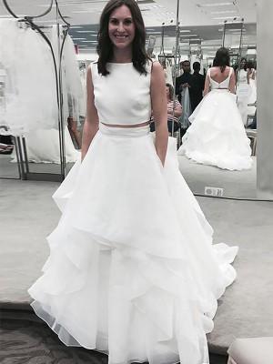 A-Linien-/Princess-Stil Bateau-Ausschnitt Hofschleppe Ärmellos Chiffon zweiteilige Brautkleid