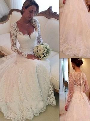 Duchesse-Stil V-Ausschnitt Hofschleppe Ärmellos Tüll Brautkleid mit Spitze