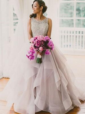 Duchesse-Stil U-Ausschnitt Pinselschleppe Ärmellos Organza Brautkleid mit Perlenstickereien