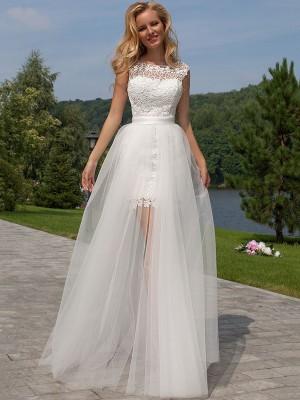 Etui-Linie U-Ausschnitt Bodenlang Ärmellos Tüll Asymmetrisch Hochzeitskleid mit Spitze