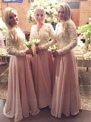 A-Linien-/Princess-Stil V-Ausschnitt Chiffon Bodenlang Lange Ärmel Brautjungfernkleid mit Spitze