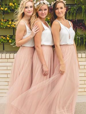 A-Linien-/Princess-Stil V-Ausschnitt Tüll Bodenlang Ärmellos Brautjungfernkleid