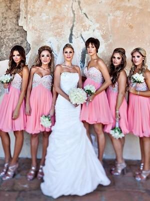 A-Linien-/Princess-Stil Herzausschnitt Chiffon Kurze Ärmellos Brautjungfernkleid mit Perlenstickereien
