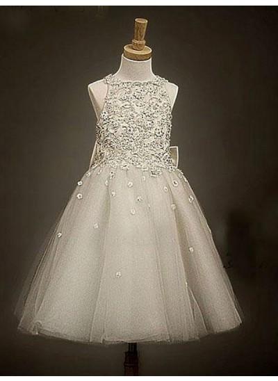 A-Linien-/Princess-Stil U-Ausschnitt Ärmellos Schleifen Long Organza Blumenmädchenkleid
