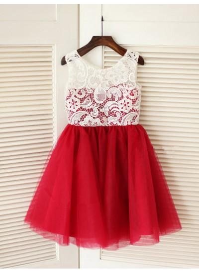 A-Linien-/Princess-Stil U-Ausschnitt Ärmellos Bodenlang Tüll Blumenmädchenkleid mit Spitze