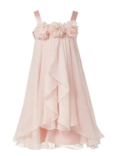 A-Linien-/Princess-Stil Ärmellos Träger Handgemachte Blumen Chiffon Bodenlang Blumenmädchenkleid