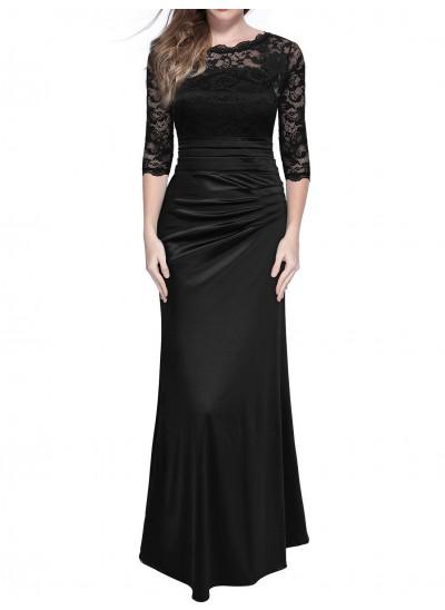 A-Linien-/Princess-Stil Schulterfrei Dreiviertelärmel Satin Abendkleid mit Spitze