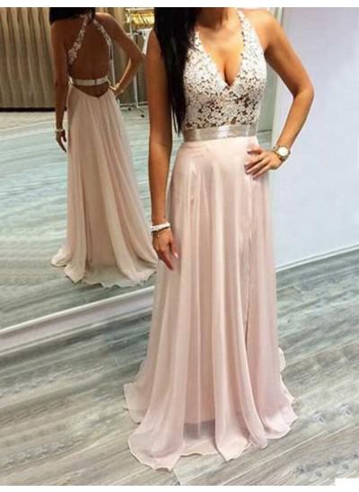 A-Linien-/Princess-Stil Neckholder Pinselschleppe Chiffon Abendkleid mit Spitze