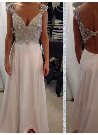 A-Linien-/Princess-Stil V-Ausschnitt Bodenlang Chiffon Abendkleid mit Perlenstickereien